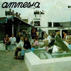 Club Amnesia Ibiza terrace in the 90 during summer of rave old picture vintage