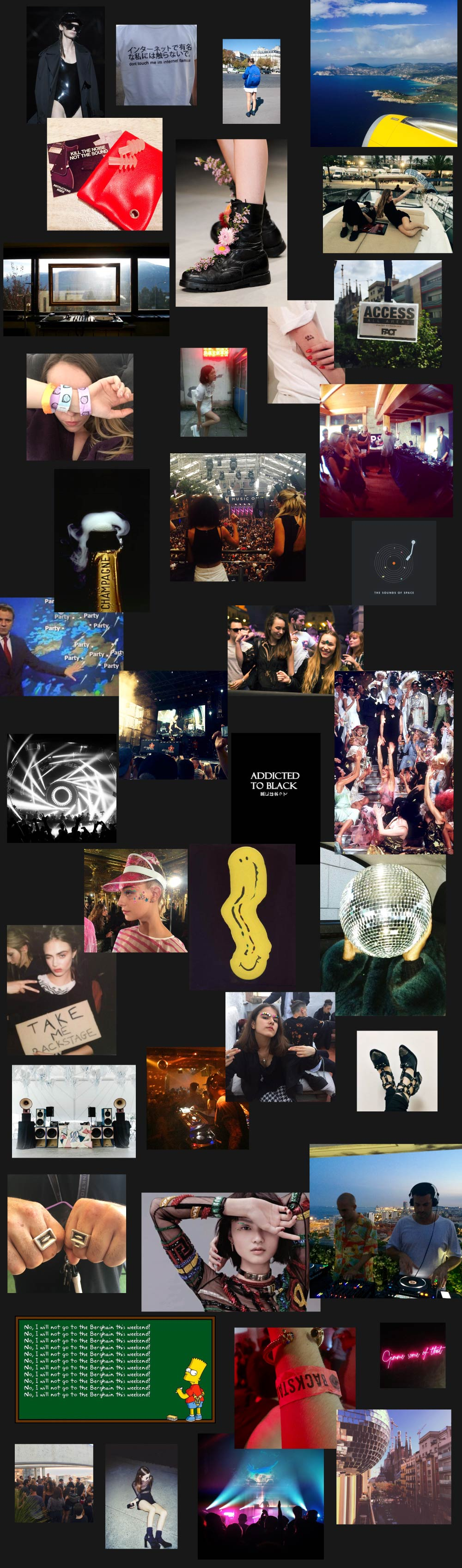This is a collage of TechnoBabes inspiration regarding the Party Lifestyle they live